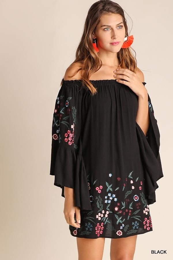 cea2e73c7b2a Black Off Shoulder Bell Sleeve Dress with Floral Embroidery. 65% Cotton