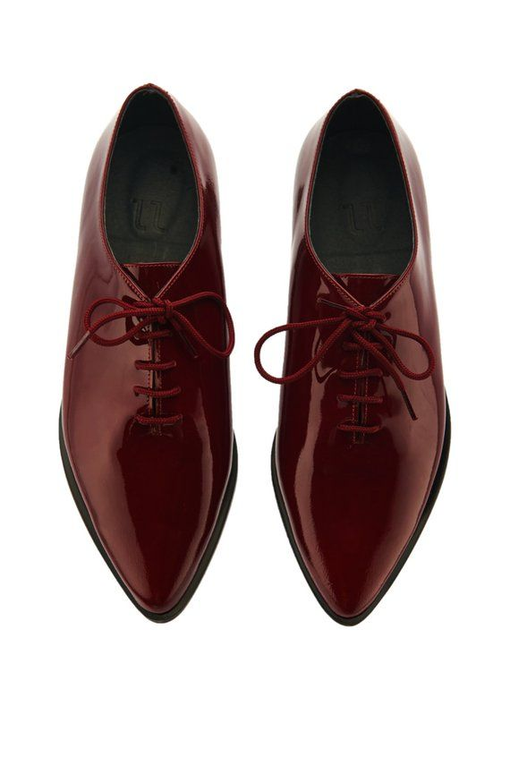 1a64c19c5ca 50% SALE - Burgundy Women Oxford Shoes - Flat Lace Shoes - Laceup Oxfords -  Red Leather Shoes - Leat