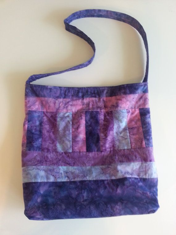 Batik Purple and Blue Tote Bag by TheQuiltingBeeShop on Etsy, $21.00