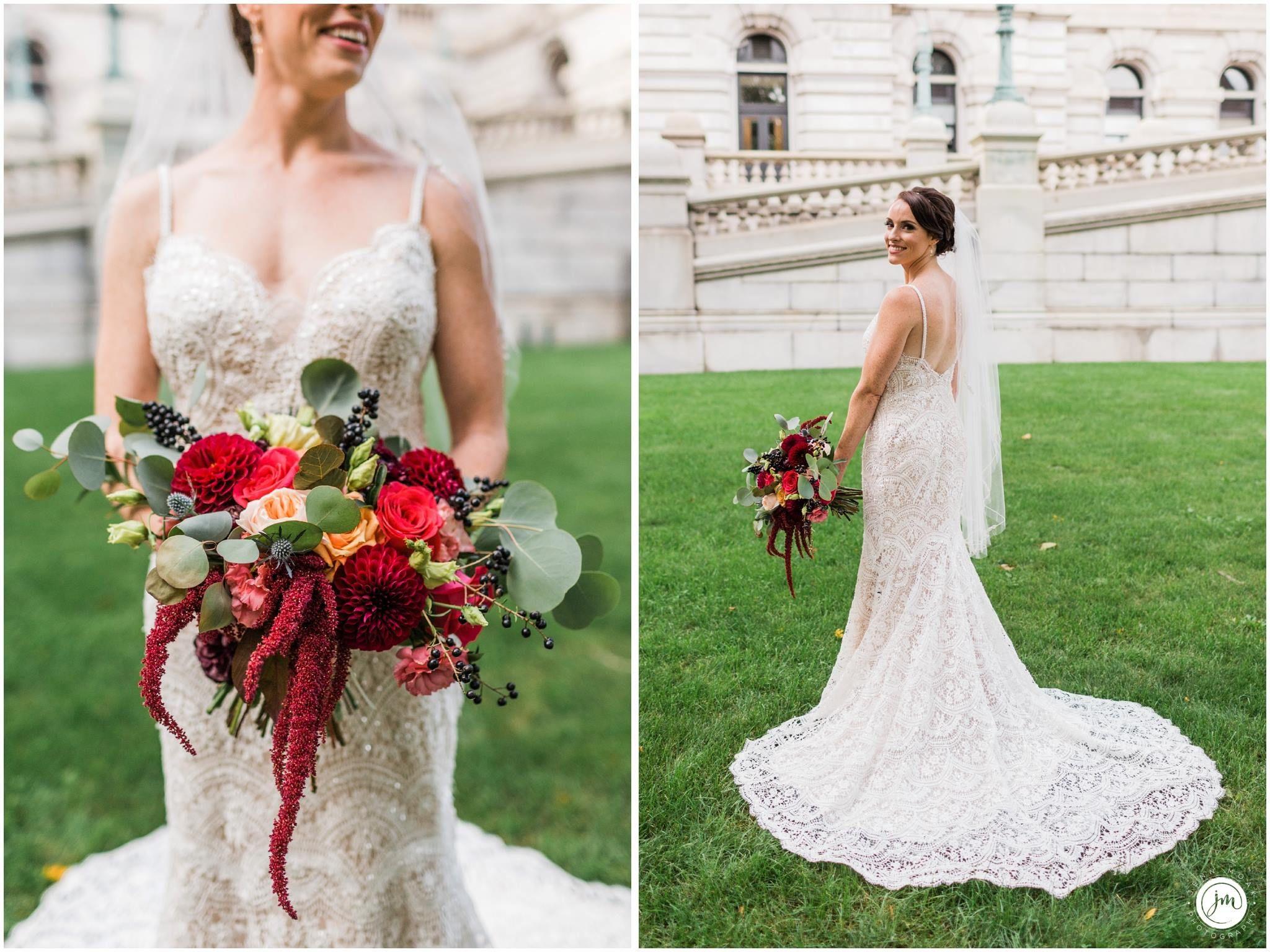 Bridal bouquet textured blooms dahlia amaranthus jen moak