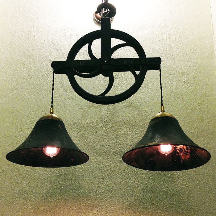 """Rustic Light Industrial Chandelier Rope Pulley Yoke Wood Metal: Made From An American 12"""" Pulley Wheel And Two Magnavox"""