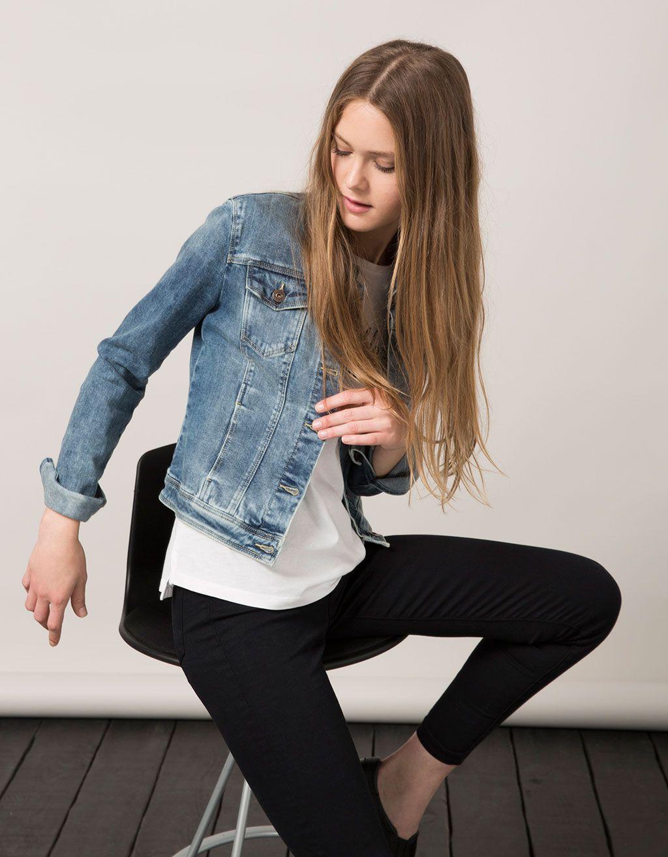 Bsk Denim Jacket Jackets Bershka Croatia Coats Jackets Women Blazers For Women Women [ 1313 x 1024 Pixel ]
