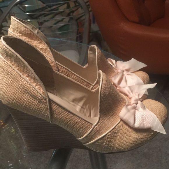 Joyfolie designer boutique heels size 10 1/2 Joyfolie boutique designer raffetta wedge heels ladies size 10 1/2 worn once . Beautiful ! Joyfolie Shoes Wedges