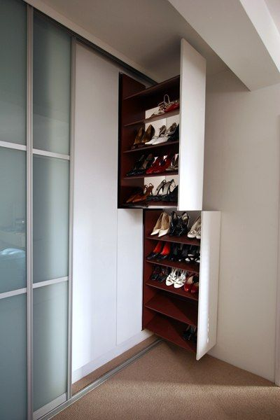 David Myron These Pull Out Shoe Racks Provide Neat Bespoke Storage For A Burgeoning Collection Of Footwear Shoe Rack Shoe Cabinet Design Bedroom Closet Design