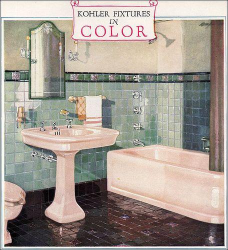 1928 Kohler Color Bathroom Fixtures This Is The Kohler Imperator Bath,  Belmore Lavatory, And