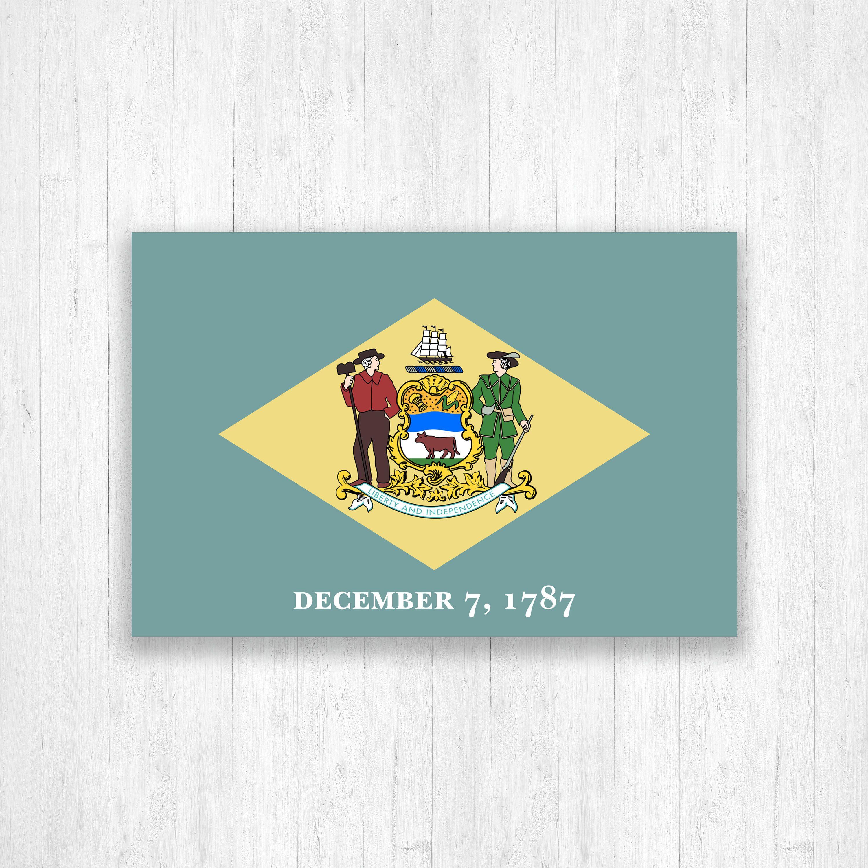 Delaware Flag Canvas Delaware Flag State Flag Print Delaware State Flag Canvas Large Canvas Wall Art F Delaware State Flag Map Canvas Print Hanging Canvas