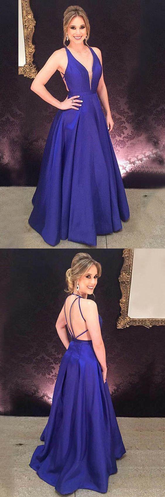 Aline deep vneck royal blue satin pleats prom evening dress