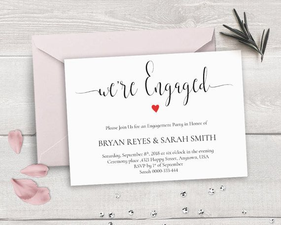 Printable Engagement Invitation Template, We're Engaged, Calligraphy ...