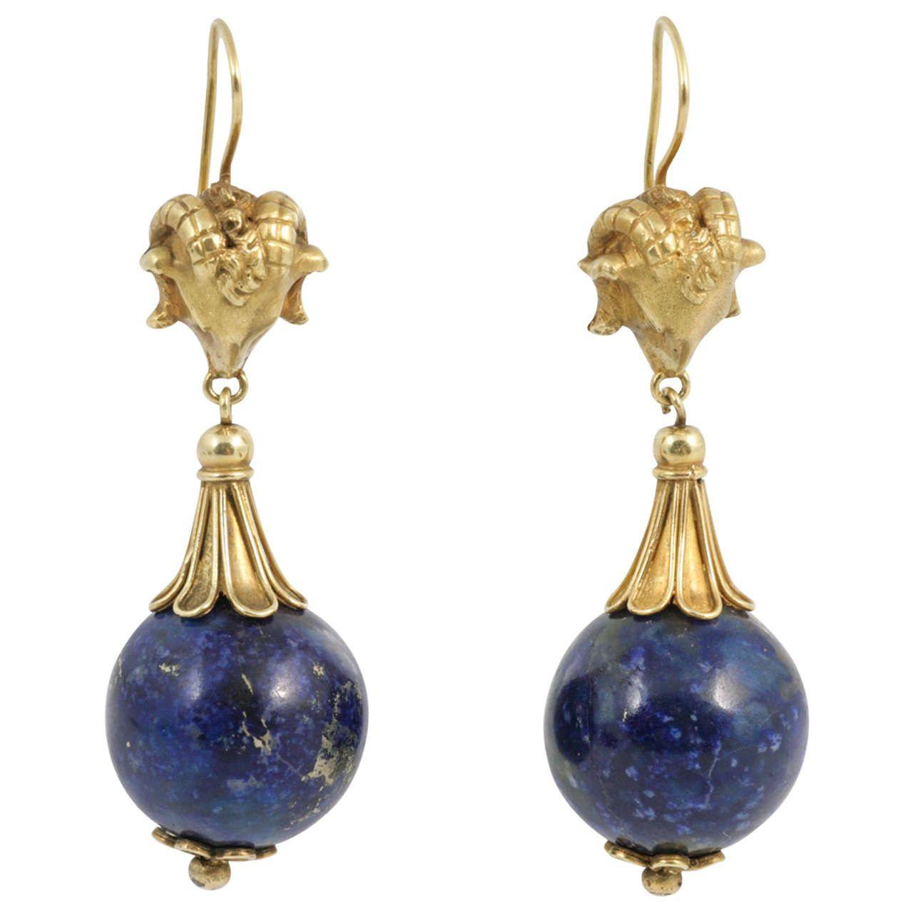 Stylish Lapis Lazuli Rams' Heads Drop Earrings | From a unique collection of vintage drop earrings at https://www.1stdibs.com/jewelry/earrings/drop-earrings/