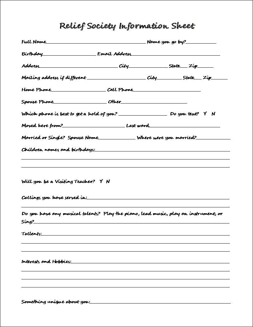 Relief Society Information Sheet ~ | Relief Society | Pinterest ...