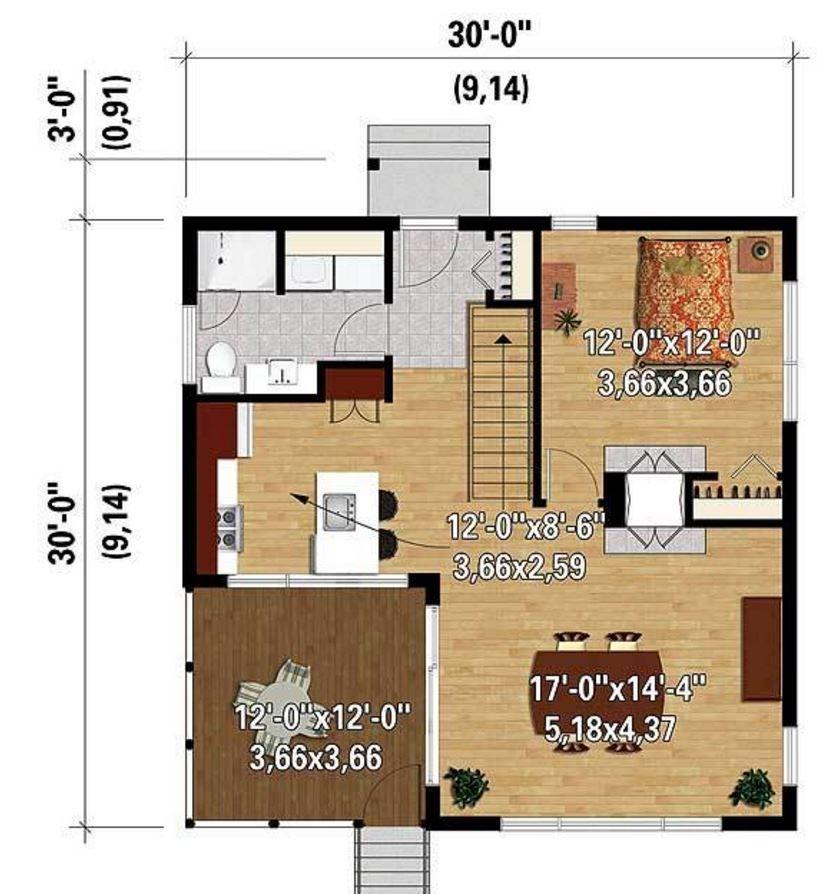 Casa peque a y moderna de 70 metros cuadrados planos for Casa moderna 50 metros cuadrados