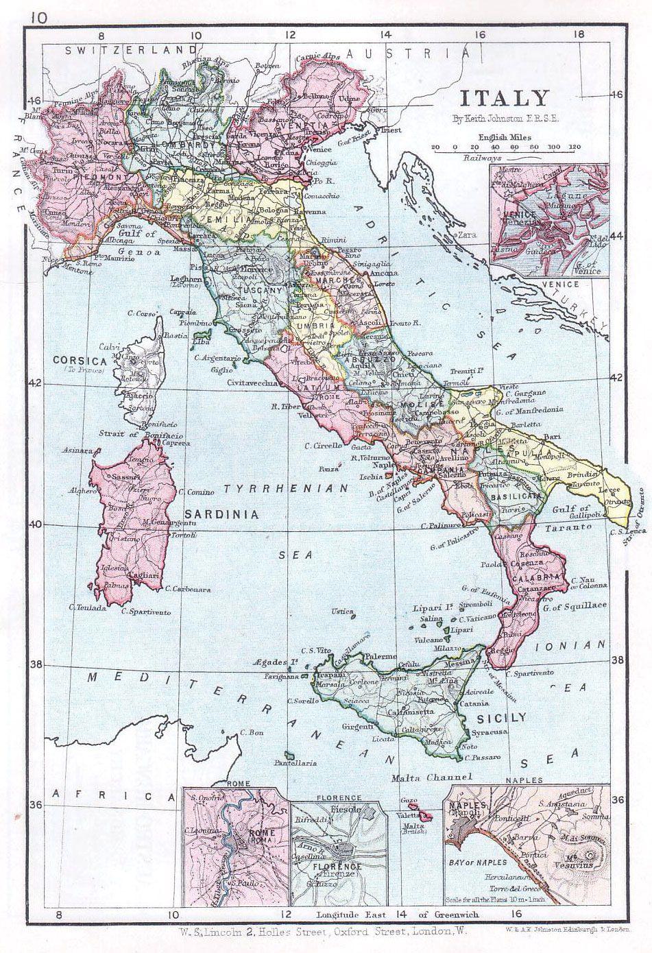 Mapa de Italia de 1899 (Lincoln)