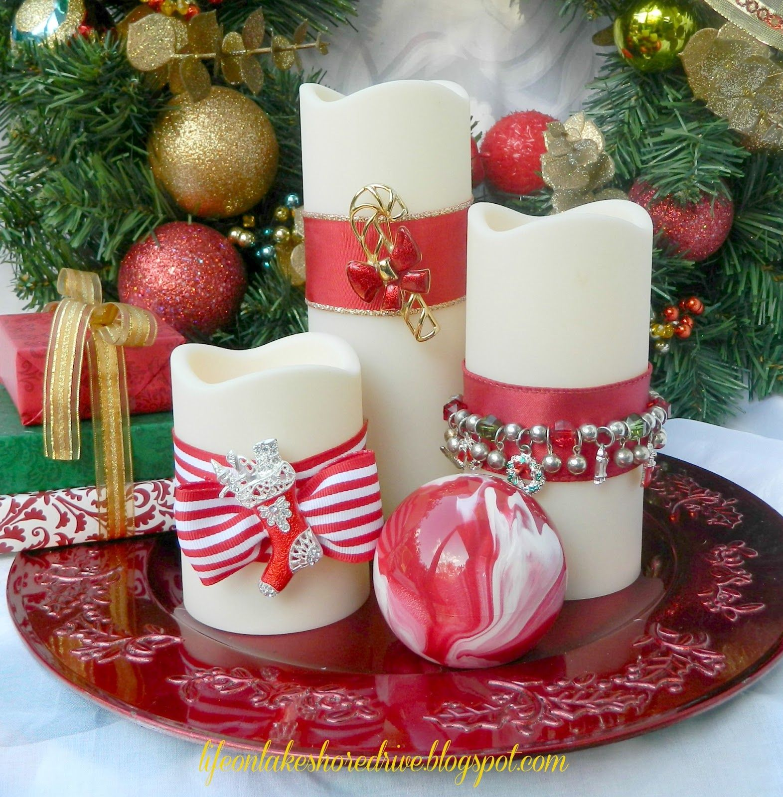 Uncategorized Candle Decorate decorate candles with christmas jewelry adoro la navidad jewelry