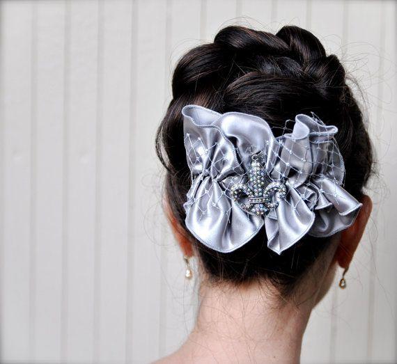 SaleSilver ruffles bow with rhinestone fleur by TutusChicBoutique, $22.00