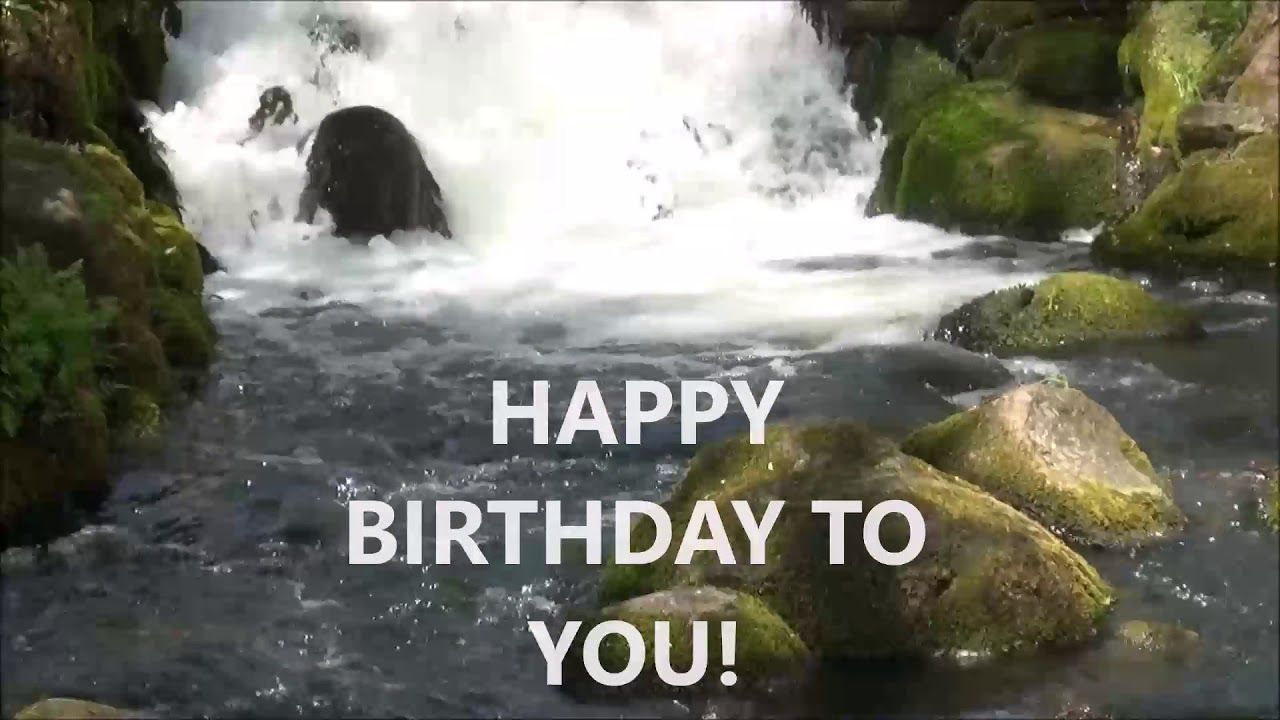 Happy Birthday Greeting Card Video With A Waterfall