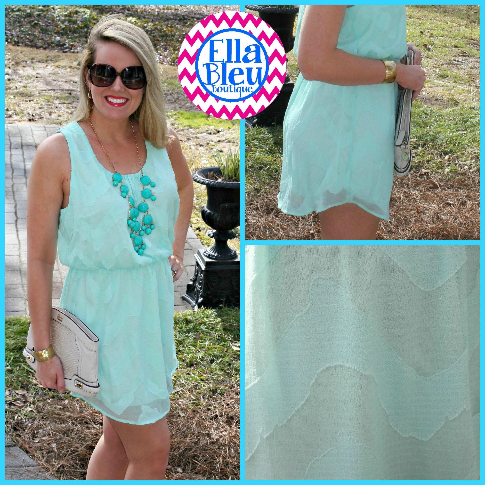 Mint with a turquoise statement necklace~LOVE! Shop Ella Bleu on FB for LESS! www.facebook.com/EllaBleuBoutique