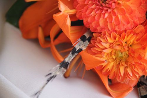orange wedding bouquet, pheasant feathers, south dakota photographer