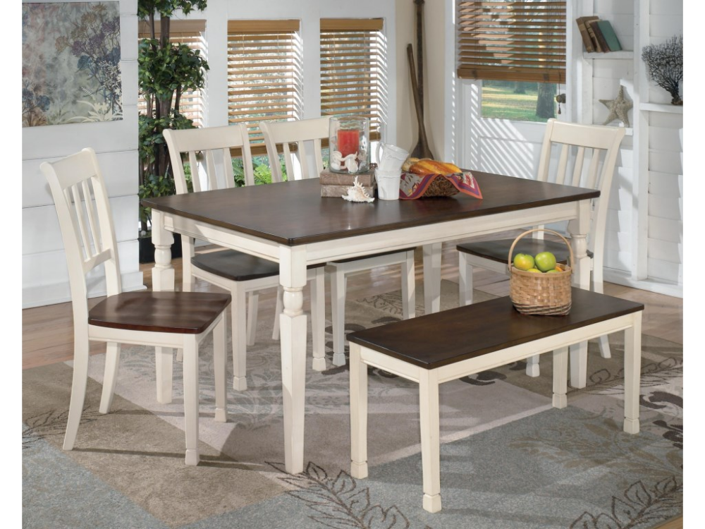 Whitesburg 6Piece Rectangular Table Set with Bench by