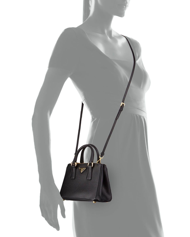 5dfd82d8df81 Saffiano Mini Galleria Crossbody Bag Black (Nero) in 2019 | Leather ...