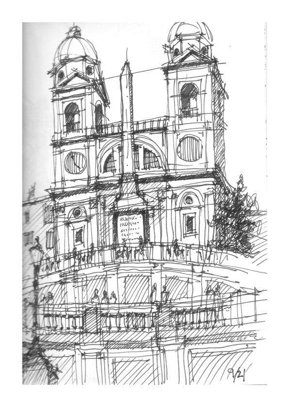 The Spanish Steps (Scalinata della Trinità dei Monti) leading to the Trinità dei Monti church by either Francesco de Sanctis or Alessandro Specchi