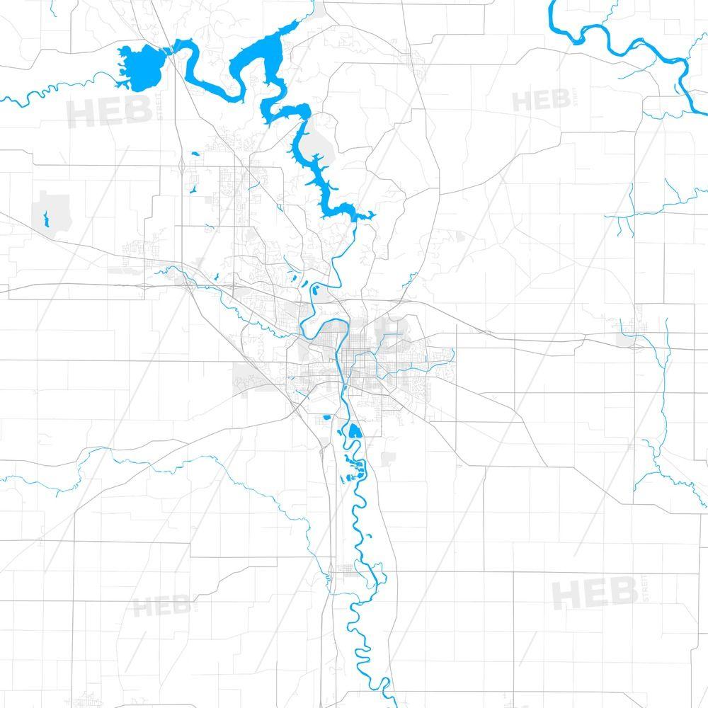 Rich Detailed Vector Map Of Iowa City Iowa Usa Streit