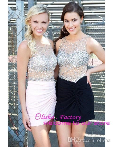 Hollow See through Sexy Short Cocktail Dresses Shiny Crystal Backless Short Party Dresses Sheath Homecoming Dresses 2015 Pleats M8006 Online with $110.36/Piece on Olisha's Store | DHgate.com