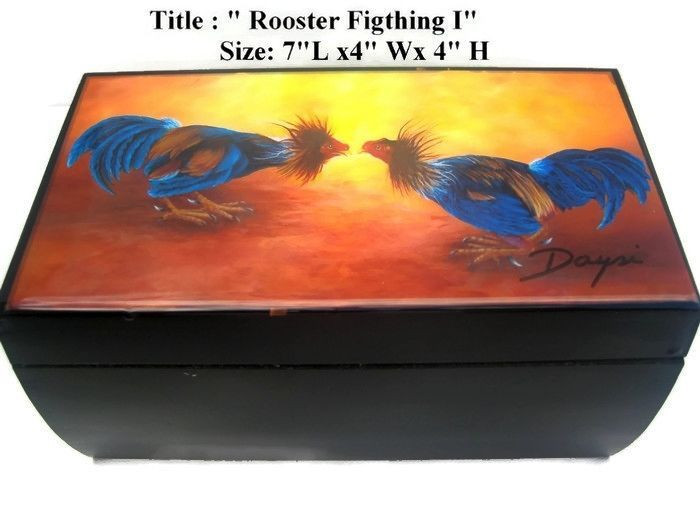 "Best Gift!! Authentic Cigar Box w/ ""Rooster"" artwork on top. Cuban Art"
