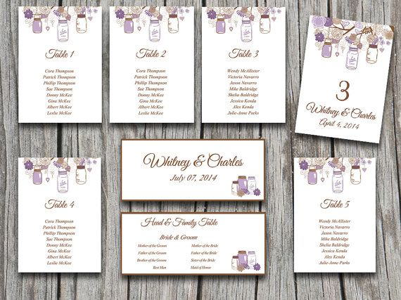 Wedding Seating Chart Template Rustic Mason Jar Purple Chocolate - card word template