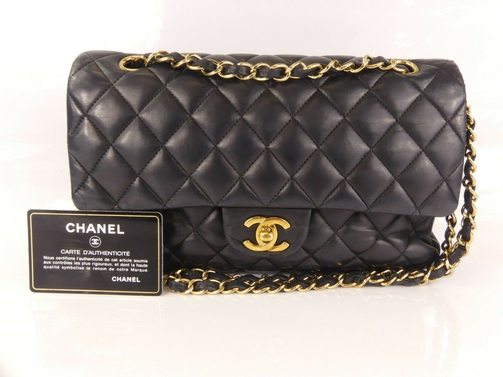 ffc5a525875 Details about CHANEL MATELASSE Diana flap CC logo shoulder bag leather  black gold Metal in 2019