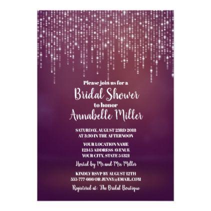 Glam White Fairy Lights PINK BOKEH Bridal Shower Card
