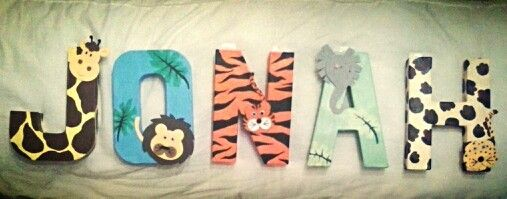 Hand Painted Baby Name Jungle Theme Letters For My Baby