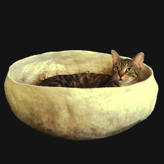 Cat Bed Felted Cruelty Free Wool Pet Basket  Tan  Kid