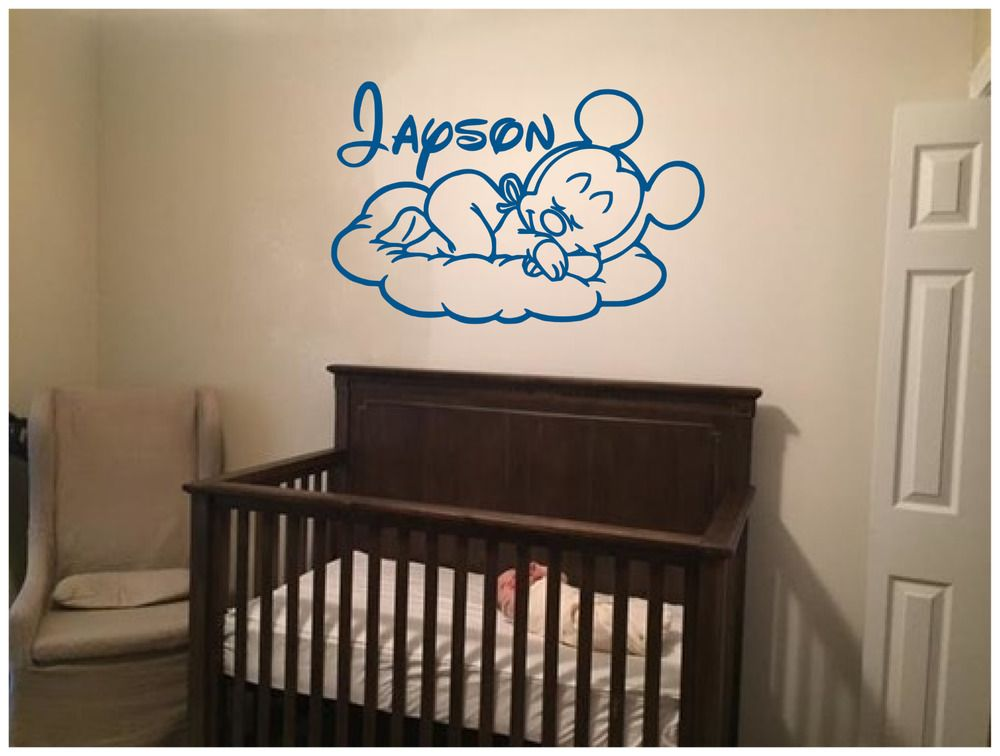 """sleeping baby mickey with name vinyl wall sticker decal 34""""x22"""
