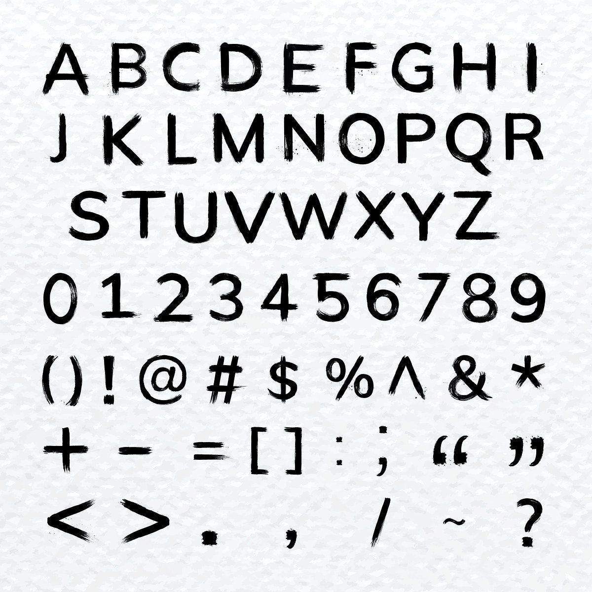 Alphabet,Numbers,Symbols brush stroke hand drawn font
