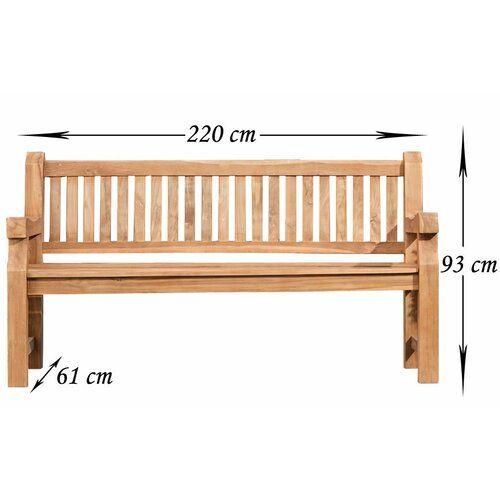 Retford Teak Bench Sol 72 Outdoor Size: 93cm H x 220cm W x 61cm D