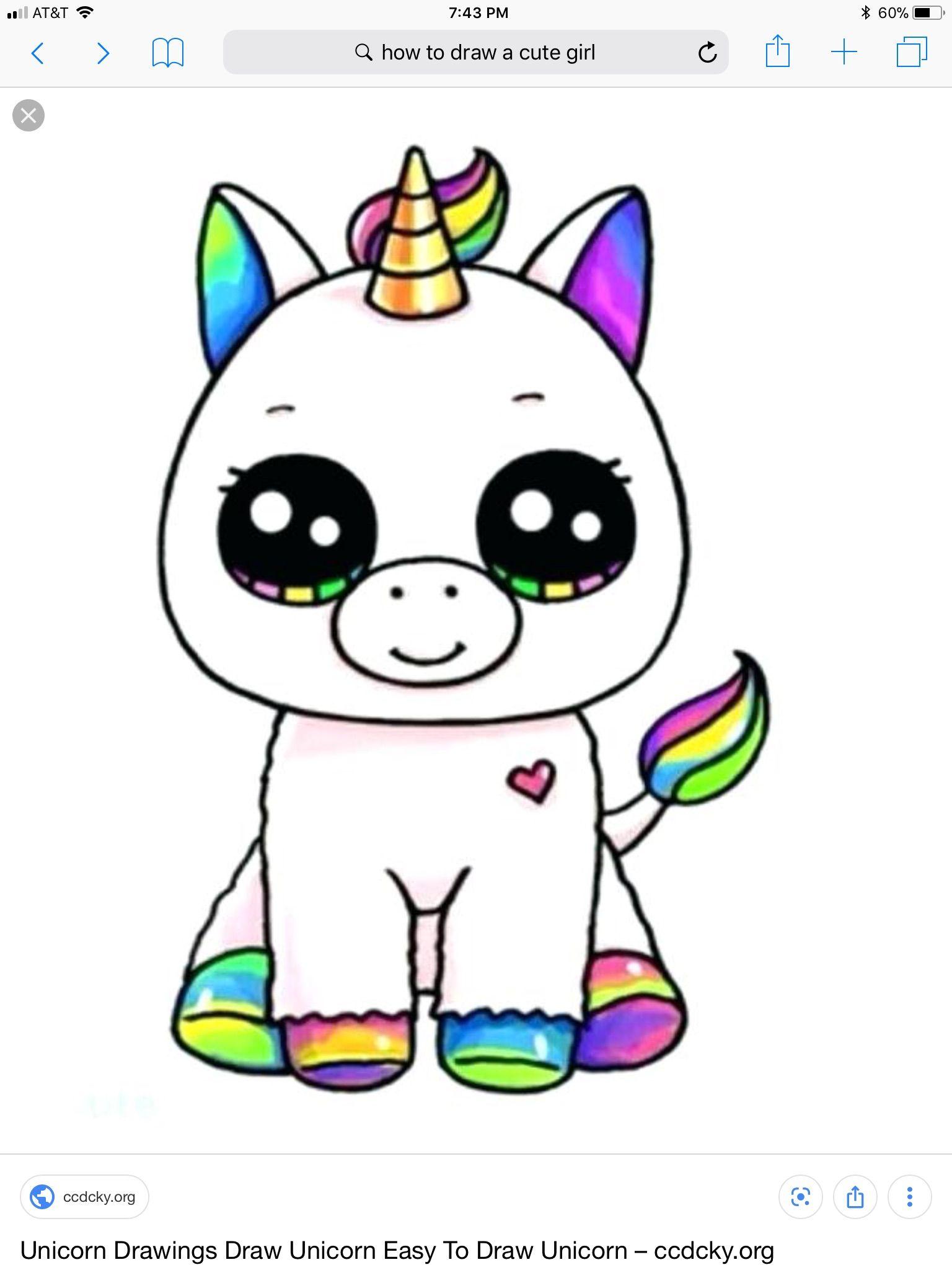 Cute Cartoon Unicorn With Images Kawaii Girl Drawings Cute