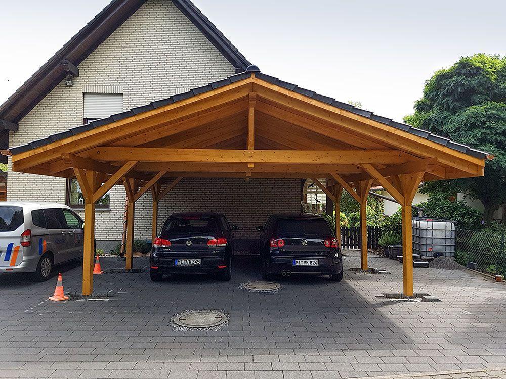 Carport02x Carport holz, Flachdach, Satteldach