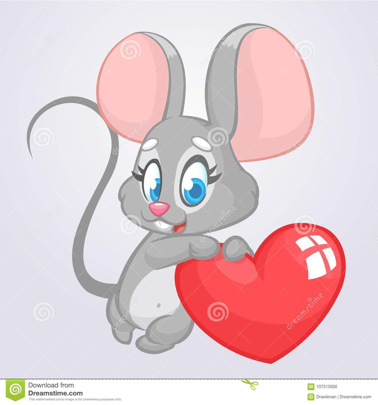 Illustration About Cartoon Cute Mouse Holding A Love Heart Vector