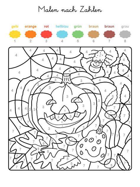 Ausmalbild Malen nach Zahlen: Halloween: Kürbisse ausmalen kostenlos ...