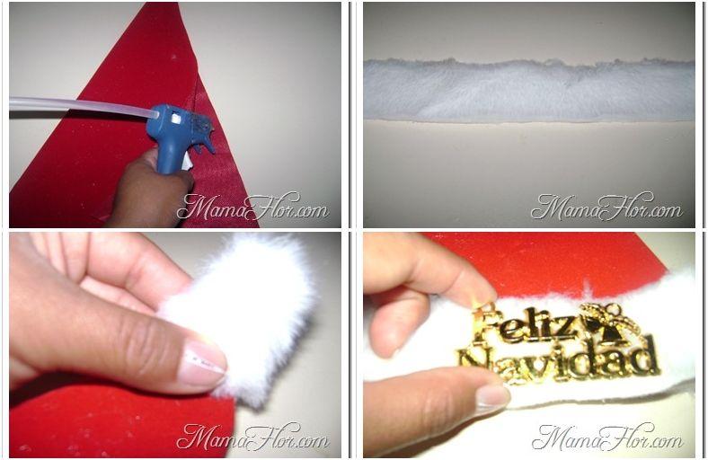 El tutorial más fácil para hacer un gorro de Papá Noel