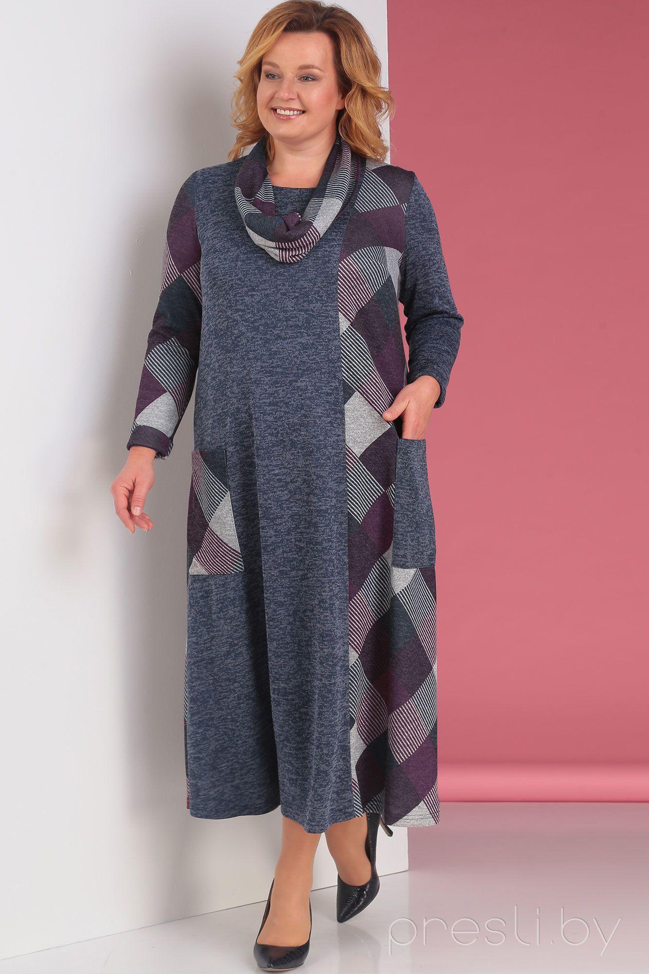Платье Новелла Шарм 3079-к серый с фиолетовым | Платья