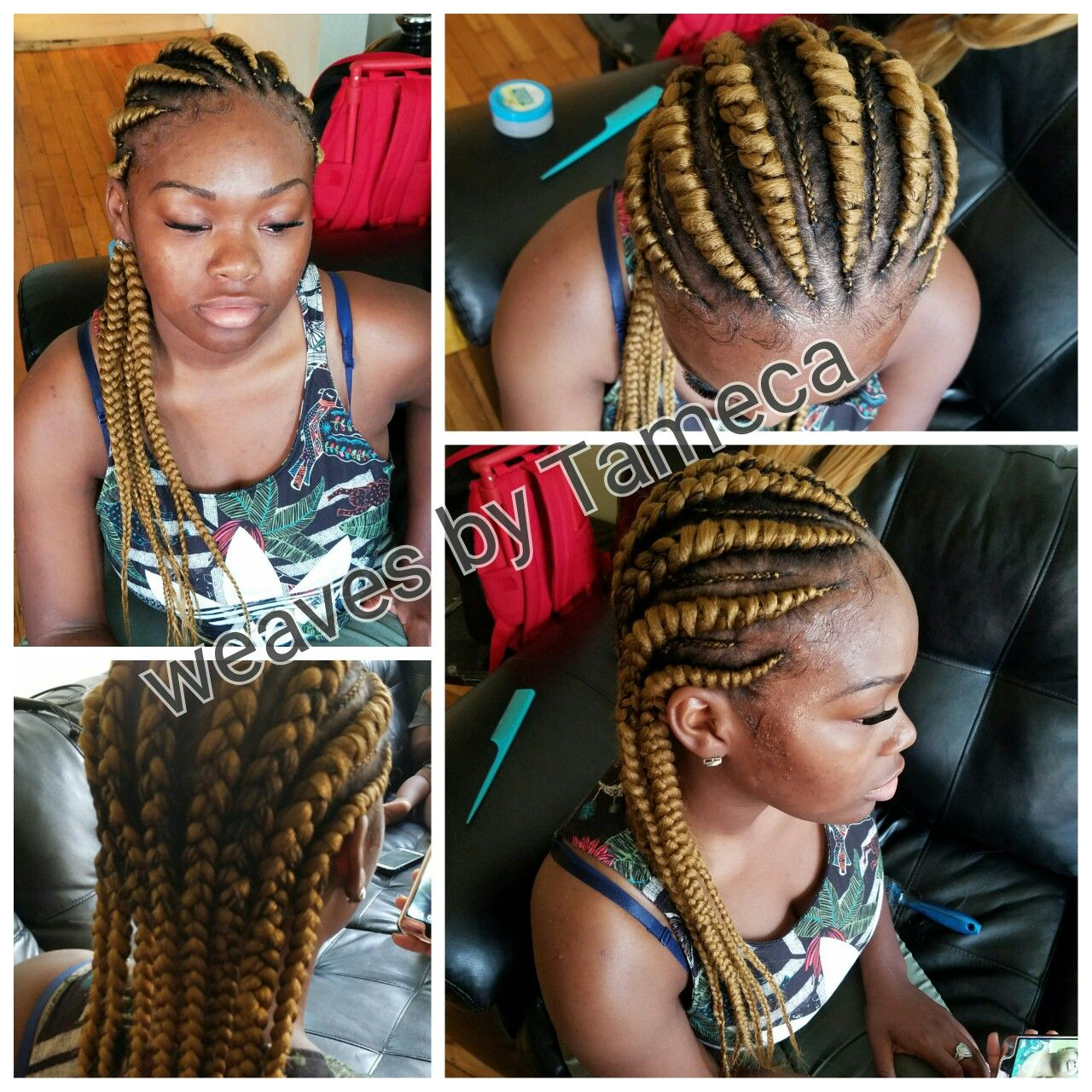 Blonde Ghana braids, weave braids, colored hair, blonde