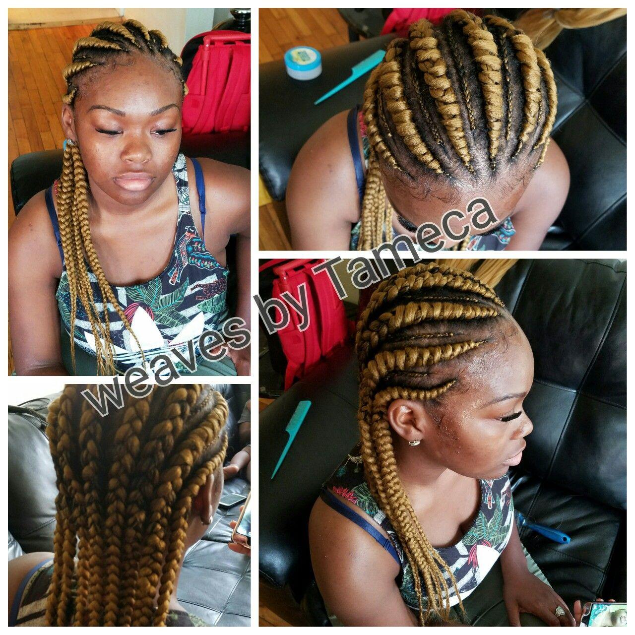Blonde Ghana Braids Weave Braids Colored Hair Blonde Weave Feed In Braids Braids With Weave Hair Styles Weave Hairstyles Braided