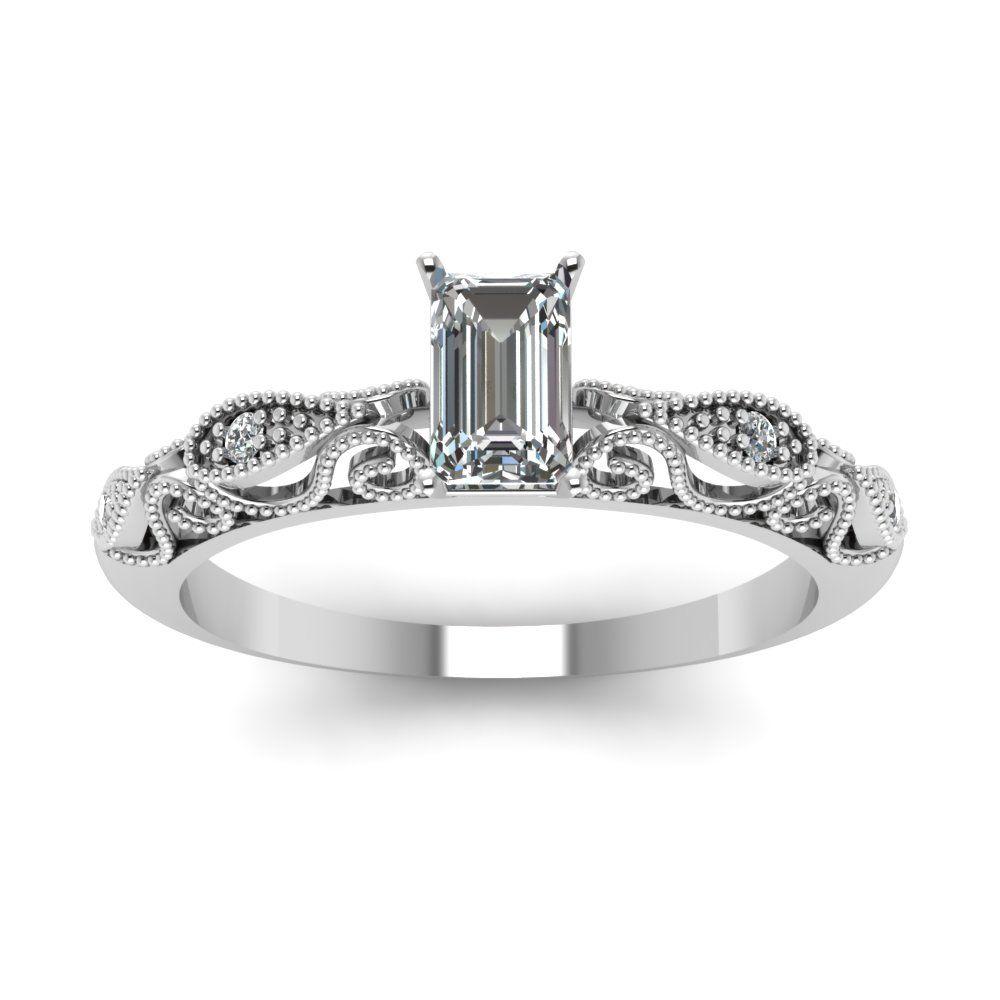 Radiant cut diamond milgrain rings with white diamond in k white
