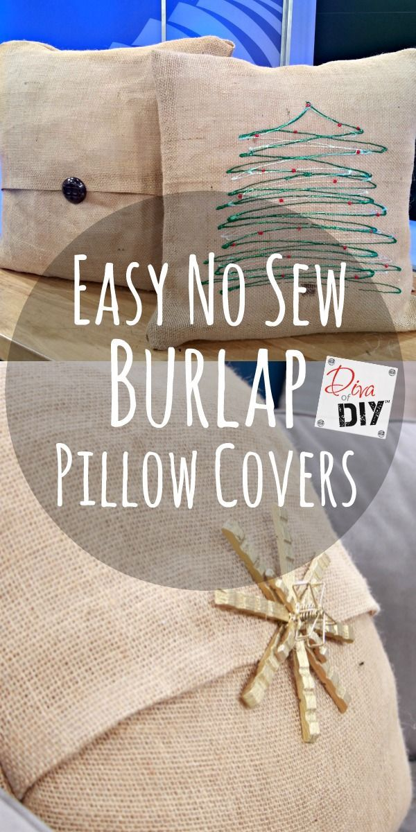 How To Make Easy No Sew Burlap Pillow Covers Diy Pillow