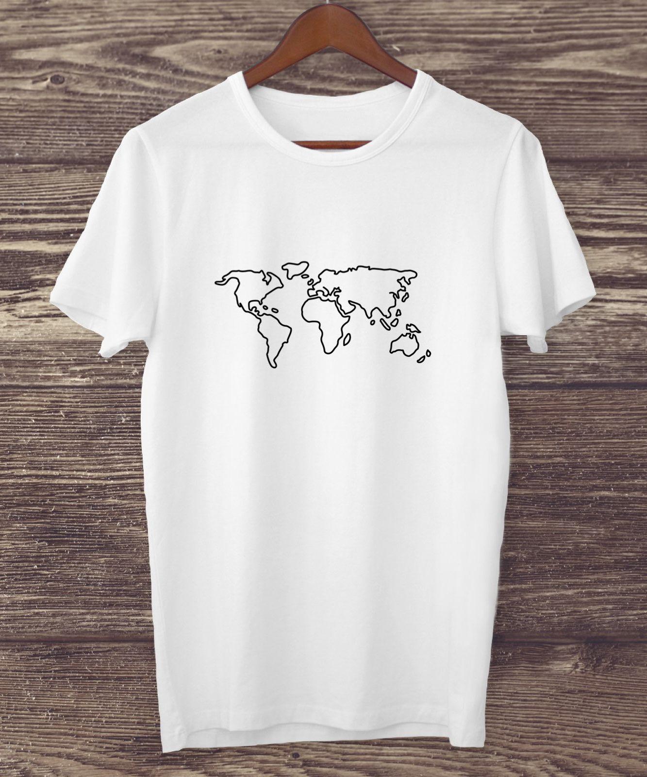 Minimalist World Map Line Art Graphic Tees For Women Tee Shirts Ladies Clothing Trendy Shirt Unisex Oversized Fit Tshirt Tumblr Aesthetic #teedesign