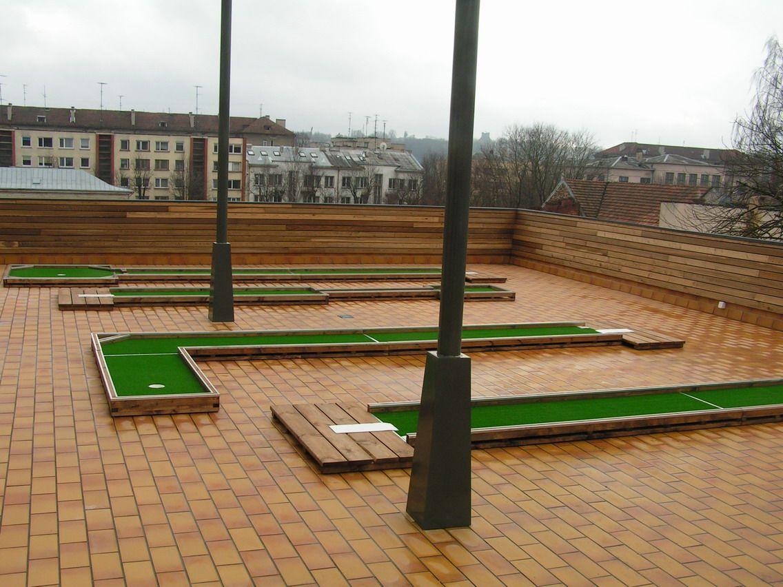 Mini golf course on the roof terrace Mini golf course