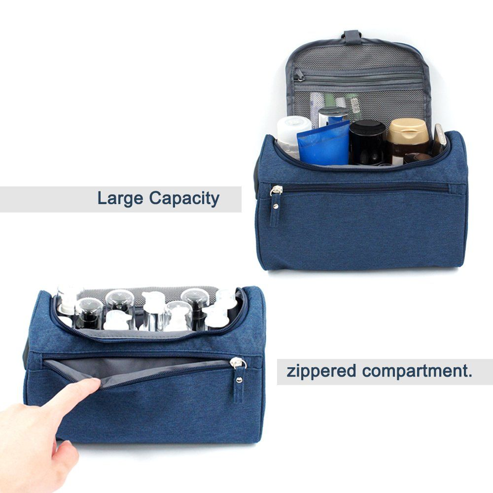 0bce210eff57 Travel Toiletry Bag Waterproof Zip Organizer Hanging Cosmetic Makeup Shower  Bag With Large Compartment for Men
