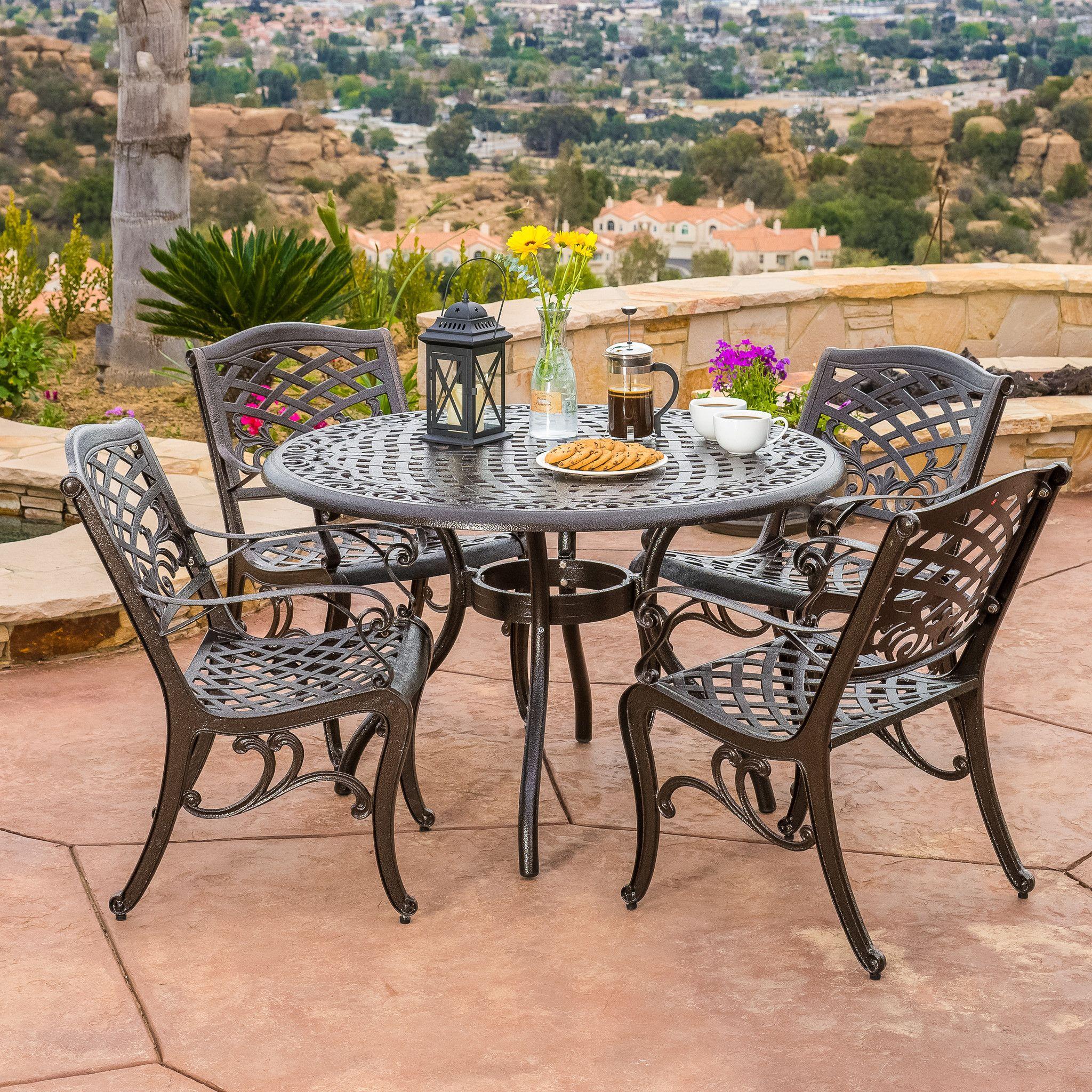 Covington Outdoor 5 Piece Bronze Cast Aluminum Dining Set With Umbrella Hole Outdoor Dining Set Cast Aluminum Patio Furniture Patio Furniture Sets
