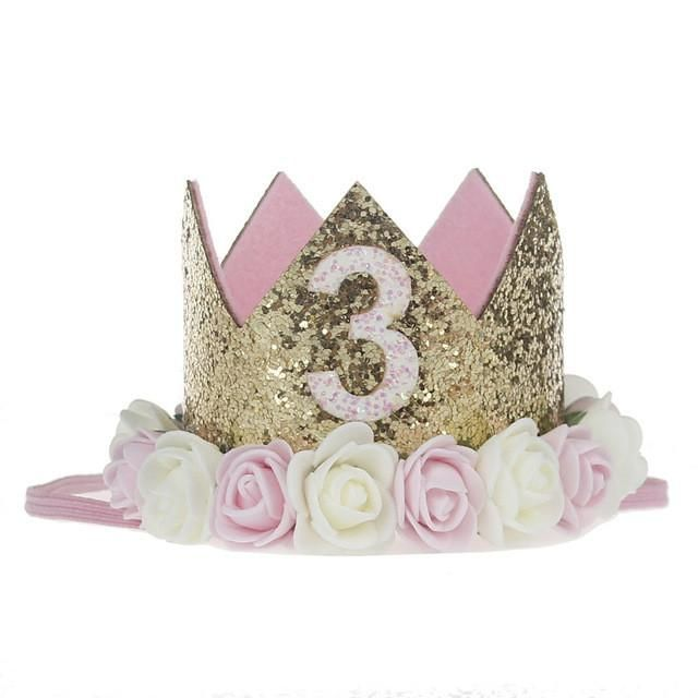0682e3d296f Fashion Kids Party Lace Letter Flower Crown Headwear Hairband Headband Hair  Band Accessories Girls Birthday Party Gift Decor